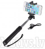 Bluetooth Selfie stick monopod for Gopro, phone, camera with phone holder - Black