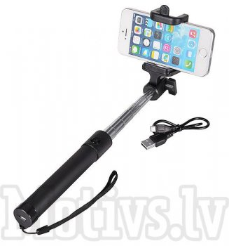 Bluetooth Selfie stick monopod for phones, with phone holder - Black, selfīšu kāts nūja