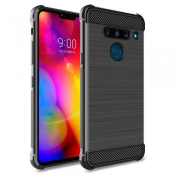 Maciņš vaciņš apvalks bamperis priekš LG G8 ThinQ | IMAK Carbon Fiber Pattern Brushed TPU Shell Cover for LG G8 ThinQ - Black