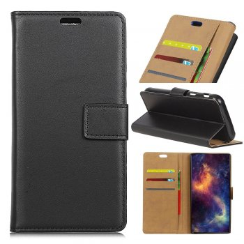 Asus Zenfone 4 Max ZC554KL Smooth Split Leather Wallet Case Cover Stand, black - vāks maks