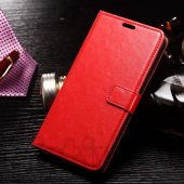Samsung Galaxy Note 5 SM-N920F N920C Oil Buffed Leather Wallet Cover Case Stand, red - aksesuārs vāks maks