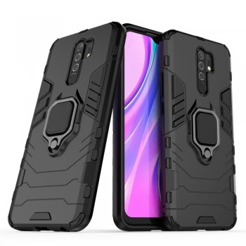 Xiaomi Redmi 9 Guard Ring Holder Kickstand PC TPU Hybrid Case - Black | Чехол для телефона