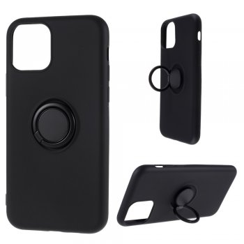 Apple iPhone 11 Pro Max Silicone Case Cover with Finger Ring, black | Silikona vāks maks apvalks