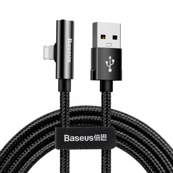 Baseus Bent - Elbow Cable USB / Lightning + Audio adapter, 2.4A, 1.2m Black | Pāreja, lādētājvads, kabelis