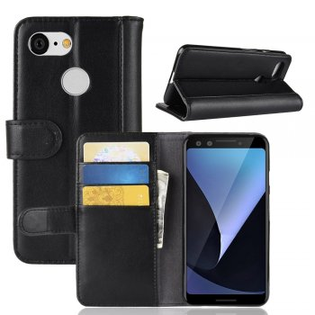 Google Pixel 3 Leather Wallet Book Case - Black | Atverams ādas maciņš