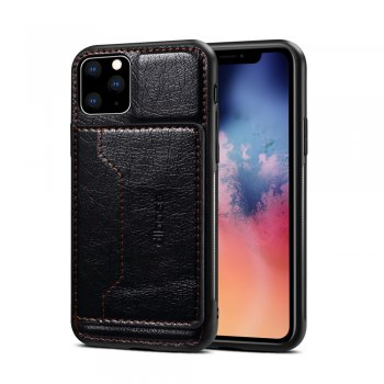iPhone 11 Pro Crazy Horse Leather Case Cover with Card Holder - Black | Telefona vāciņš maciņš apvalks