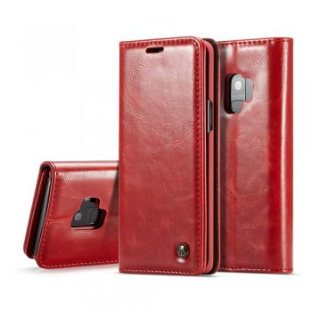 Samsung Galaxy S9 SM-G960F CASEME Oil Wax Leather Case Cover Stand, red – vāks maks