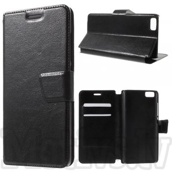 Xiaomi Mi 5 Crazy Horse Leather Wallet Stand Case Cover, black – vāks vāciņš maks maciņš