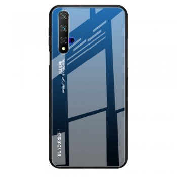 Huawei Honor 20 / 20s / Nova 5T Gradient Glass TPU + PC Phone Case - Blue / Black | Telefona vāciņš bamperis