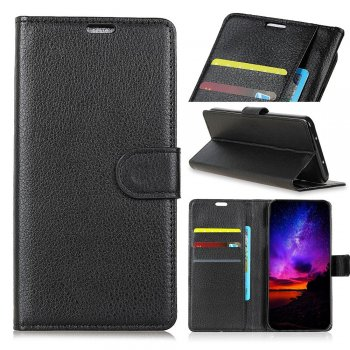 Motorola One Vision / P50 Leather Wallet Book Case - Black | Telefona maciņš-vāciņš, EKO āda, Melns
