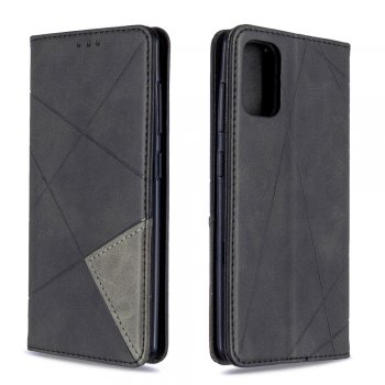 Samsung Galaxy A41 (SM-A415F) Geometric Leather Phone Case Cover Card Holder Shell, Black