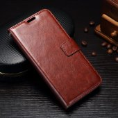 Samsung Galaxy J3 2017 SM-J330 Crazy Horse Leather Card Wallet Cover Case Stand, brown – vāks maks