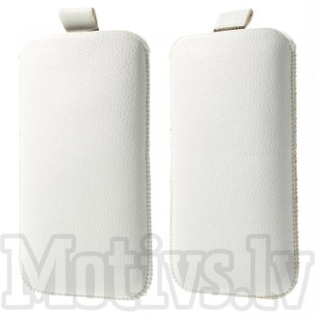 "Universal Pull Tab Pouch Sleeve Bag for 5"" phones 148 x 88 mm, white - izvelkams maciņš"