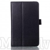 Lenovo IdeaTab A7-50 A3500 Lychee Leather Stand Case Cover, black - vāks apvalks pārvalks maks