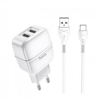 Hoco C77A Wall Charger 2x USB + USB / Type C Cable 1M, White | Провод для зарядки с адаптером