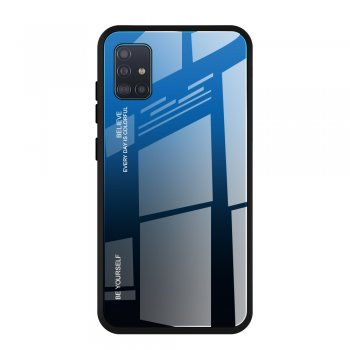 Samsung Galaxy A51 (SM-A515F) Glass + TPU Case Cover, Blue / Black | Vāks bamperis