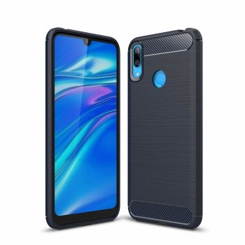 Huawei Y6 / Y6 Prime 2019 Carbon Fiber Brushed TPU Gel Case Bumper Cover, blue - обложка бампер