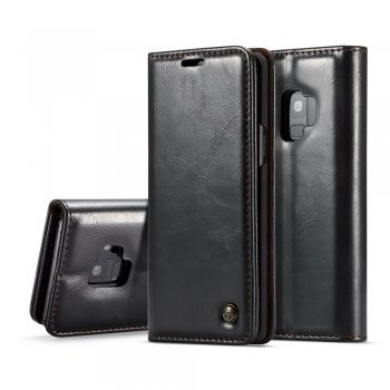 Samsung Galaxy S9 SM-G960F CASEME Oil Wax Leather Case Cover Stand, black – vāks maks