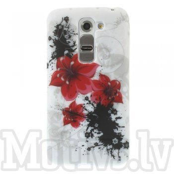 LG Optimus G2 mini D610 D618 D620 D620R D620K Colorize! TPU Silicone Back Case Cover, red flower - puscietā silikona maciņš vāciņš