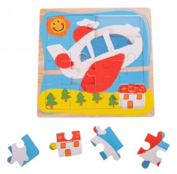 "Wooden Jigsaw Puzzle ""Airplane"" 16 pcs"