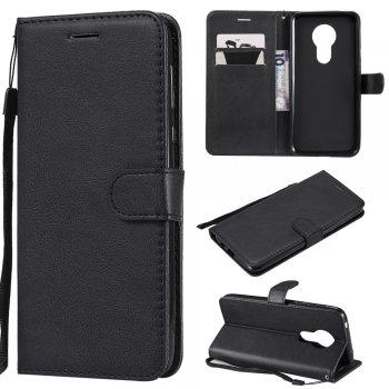 Motorola Moto G7 Power - PU Leather Wallet Case Cover, Black