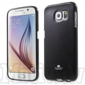 Samsung Galaxy S6 SM-G920F Mercury Glitter Powder Jelly TPU Case Cover Shell, black - vāks bamperis