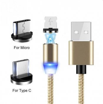 Magnētisks USB Lādētājvads 3in1 (Type C, Micro USB, Apple Lightning iPhone), 1m, Zelta | Magnetic USB cable 3in1 (Type C, Micro USB, Apple Lightning)