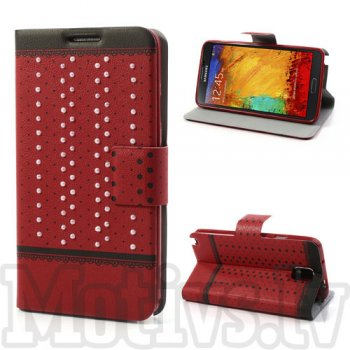 Samsung Galaxy Note 3 III N9000 N9002 N9005 Book case cover stand, Aiweike pearl red