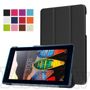"Lenovo Tab 3 7"" (TB3-730X 730M) Tri-fold Stand Smart Crazy Horse Leather Case, black - vāks apvalks pārvalks"