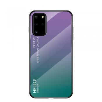 Samsung Galaxy S20+ Plus Gradient Color Tempered Glass + PC + TPU Case Cover - Purple / Green | Обложка бампер