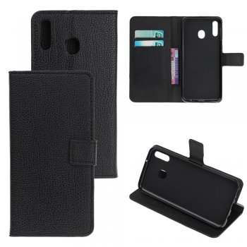 Samsung Galaxy A40 (SM-A405F) PU Leather Wallet Case Cover, Black | Vāciņš maciņš apvalks
