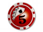 Pokera čipi 50 gab. Poker Chips Deluxe 5$ Red - 50 Unit