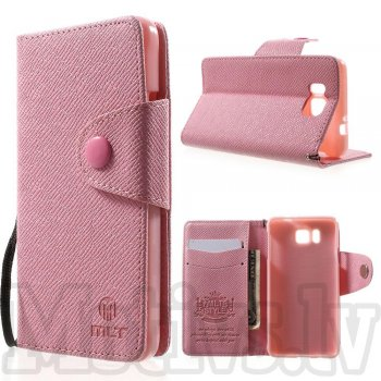 Samsung Galaxy Alpha G850F G850A S801 MLT Wallet Leather Stand Cover, pink - aksesuārs vāks maks