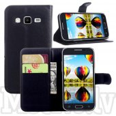 Samsung Galaxy Core Prime SM-G360F G360H G361F Lychee Grain PU Leather Wallet Case, black - vāks maks