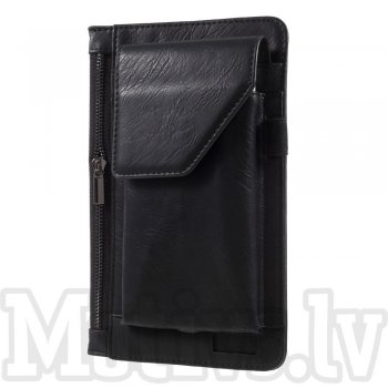 Universal Size L 3 Pocket Leather Pouch Belt Bag for smartphone, black - universāls maks