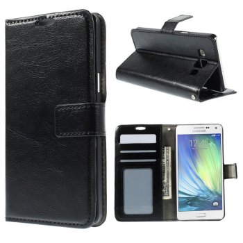 Samsung Galaxy A5 SM-A500F Duos Crazy Horse Leather Wallet Stand Case Cover, black – vāks vāciņš maks maciņš