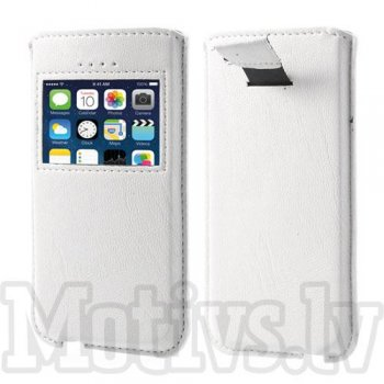 Universal Pull Tab Window View pouch case cover for Apple iPhone 5 5s 5c and other phones, white - izvelkams maciņš ar lodziņu 13.1x7cm