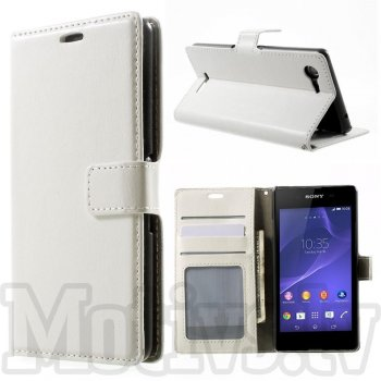 Sony Xperia E3 D2202 D2203 D2206 D2243 Dual D2212 Crazy Horse Leather Wallet Case Cover Stand, white - vāciņs, maciņš