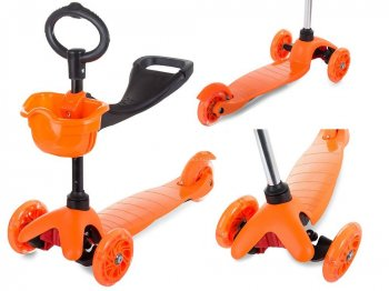 3-Wheel Scooter with Seat Running Bike Skateboard for Toddlers 3in1, Orange