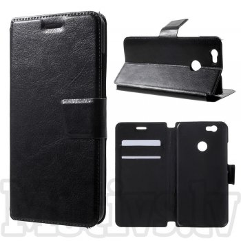 Huawei Nova CAN-L01 L11 Crazy Horse Leather Wallet Stand Case Cover, black – vāks vāciņš maks maciņš