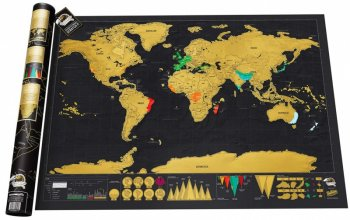 Poster with World Travel Map, Gift Scratch