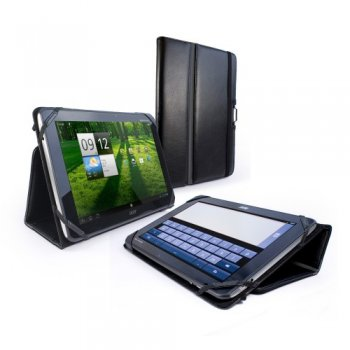 Tuff-luv Type-View: Leather Case Cover for Acer Iconia A700 - Black