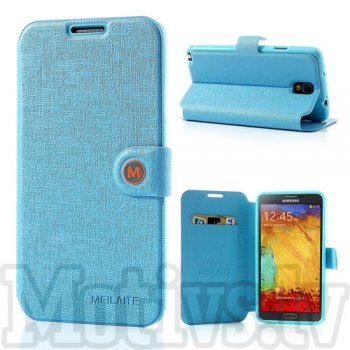 Samsung Galaxy Note 3 III N9000 N9002 N9005 Book Case Cover Stand, Meilaite blue