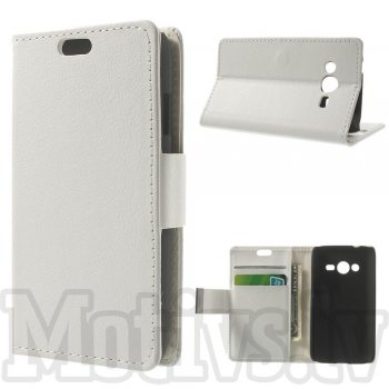 Samsung Galaxy Ace NXT SM-G313H / Ace 4 LTE G313F Litchi Leather Wallet Book Case Magnetic Cover Stand, white - maks maciņš