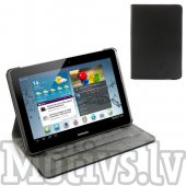 "Samsung Galaxy Tab 2 10.1"" P5100 P5110 leather case cover 360 degree rotating head, pārvalks apvalks maks vāks – melns"