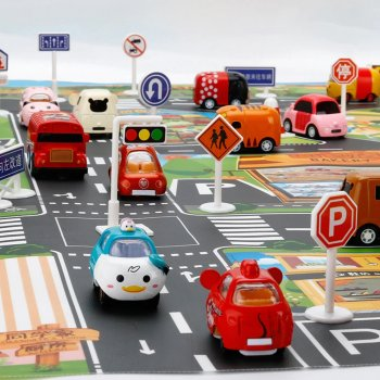 Children's Slim Mat Carpet with Road Signs, 130 x 100 cm