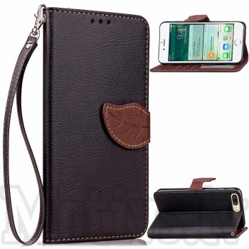 "Apple iPhone 7 Plus 5.5"" Litchi Texture Leather Leaf Clip Case Cover Stand, black – aksesuārs vāks maks"