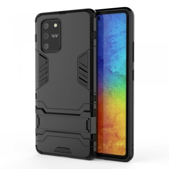 Samsung Galaxy S10 Lite (SM-G770F) PC + TPU Hybrid Case Cover with Kickstand, Black | Vāks bamperis