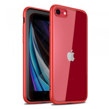 Apple iPhone 8 / 7 / SE (2020) 4'7 IPAKY Clear TPU Edges Combo Cover Case, Red