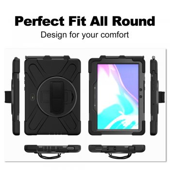 Samsung Galaxy Tab Active Pro (SM-T545 / T547) PC + Silicone 360 Degree Kickstand Case with Hand Strap, Black | Чехол для планшета